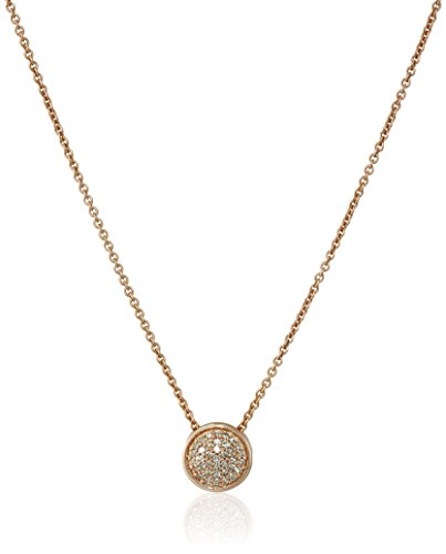 Diamond Gold Womens Necklace (14K Rose Gold over Sterling Silver Diamond Circle Pendant Necklace (1/10 cttw), 18
