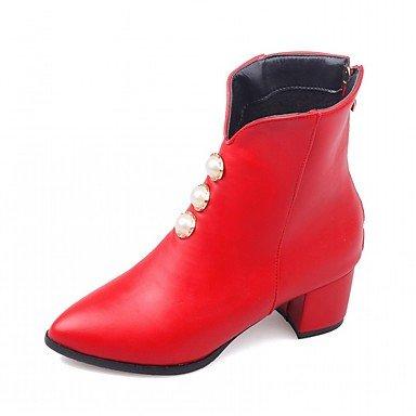 Perla Confort Piel US8 De Toe CN39 Moda Botines UK6 Invierno Talón Sintética EU39 Pu Imitación Botas Botas Zapatos De RTRY Mujer Señaló Botines Novedad Chunky De Otoño gqBBPI