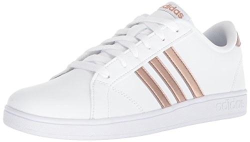 adidas Unisex-Kid's Baseline Sneaker, White/Copper Metallic/Black, 4 -