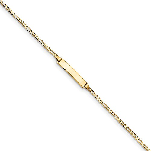 14K Gold Figaro Link ID Bracelet 8 Inches (0.2 Inches Wide) by PriceRock