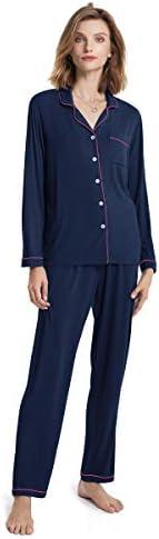 SIORO Ladies Pajamas,Soft Women's Pajama Set,Modal Long Sleeve Pajamas for Women,Button Up Sleepwear Pj Lounge Wear