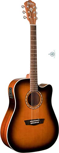 Washburn 6 String Acoustic-Electric Guitar, Tobacco Burst (WD7SCEATB-O)