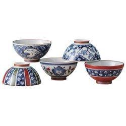 Saikai Pottery Old Somemoyo Traiditional Japanese Rice Bowls (5 bowls set) 14052 from Japan