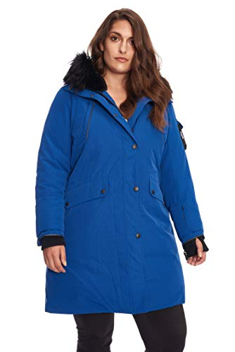 Alpine Light Down Jacket - Alpine North Size Womens Vegan Down Long Parka Winter Jacket Plus, Cobalt, 1X