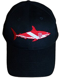 Amazon.com   Trident Scuba Dive Hat Cap with Shark Dive Flag Logo ... 515c753e745