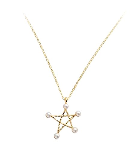 JY Jewelry Simple Chain Hollow Star with imitation pearls pendant short Necklace