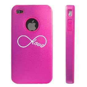Apple iPhone 4 4S Hot Pink D7195 Aluminum & Silicone Case Cover Infinity Infinite Love Symbol