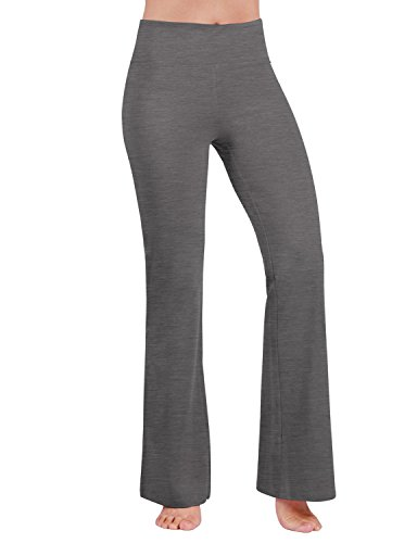 ODODOS Power Flex Boot-Cut Yoga Pants Tummy Control Workout Non See-Through Bootleg Yoga Pants,Gray,Large