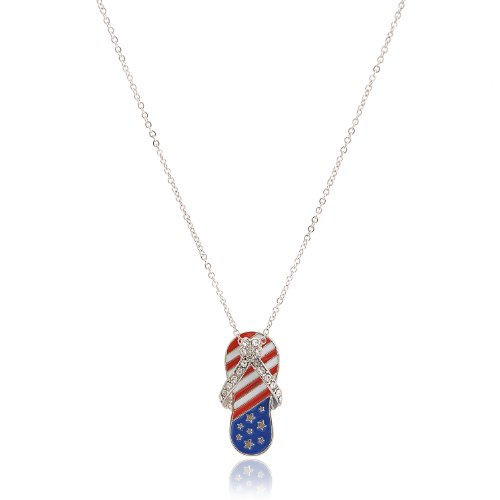 Flag Charm Pendant (Spinningdaisy Silver Plated American Flag July 4th Sandal)
