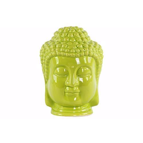 Benzara Ceramic Buddha Head with Beaded Ushnisha Statue, One Size, Green