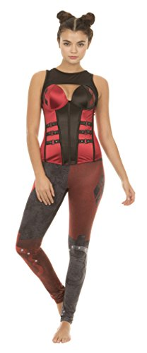 DC Comics Harley Quinn Pleather Corset with Buckles (Adult XX-Large) Red/Black]()