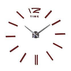 Wenzi-day Wall Clock Watch Clocks 3D Stickers Living Room Quartz Needle Europe horloge,Red,27inch