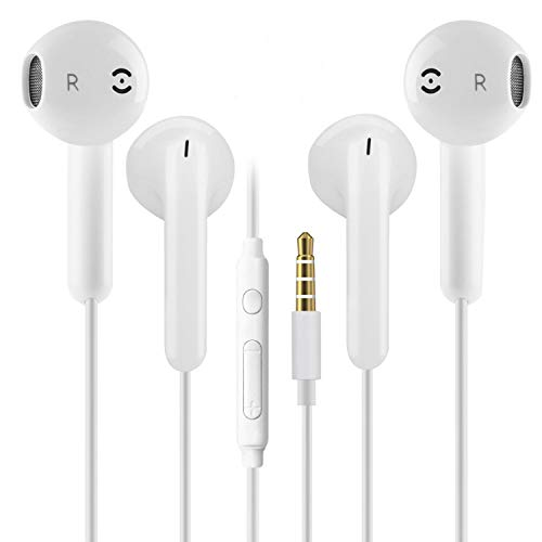 2 Pack 3.5mm Earbuds Ear Buds in Ear Headphones Wired Earphones with Mic Stereo and Volume Control Waterproof Metal Wired Earphone Compatible with Smartphone, MP3/MP4 Player and Tablet (White)