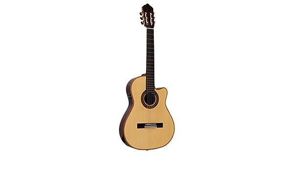 Giannini gcpp CEQ B banda hecha a mano para guitarra electroacústica Cutaway nailon con AT3 X preamplificador, Solid Rojo de parte superior de cedro: ...