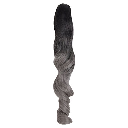 - MapofBeauty 18 Inches 45cm Day Use Curly Long Claw Ponytail (Dark Granny Gray/Black)