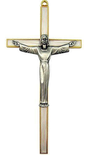 Gold Plated Pewter Cross Keepsake with Risen Christ Corpus, 7 Inches