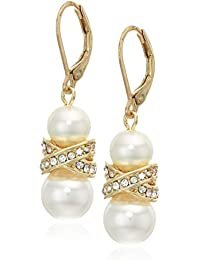 Women's Gold Tone and White Pearl Leverback Pave Drop Earrings, One Size