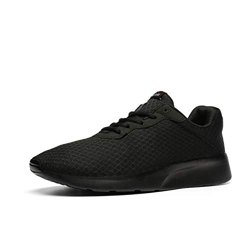AONVOGE Mens Gym Running Shoes, Lightweight Breathable Mesh Casual Sports, Athletic Tennis Workout Walking Sneakers,All Black,Size 10 44