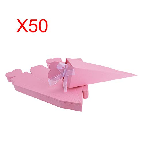Wedding Favor Cones - KMALL 50PCS Pink Ice Cream Cone Shape with Ribbon Wedding Gift Box Wedding Party Favor Candy Boxes Christmas Birth Baptism Degree Party