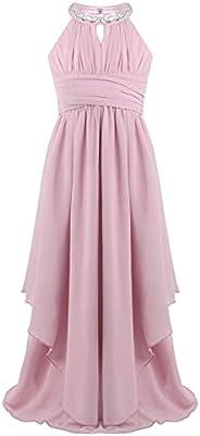 Jizyo Kids Girls Sleeveless Sequined Halter Chiffon Dress Junior Flower Girl Wedding Evening Prom Maxi Gown Dr