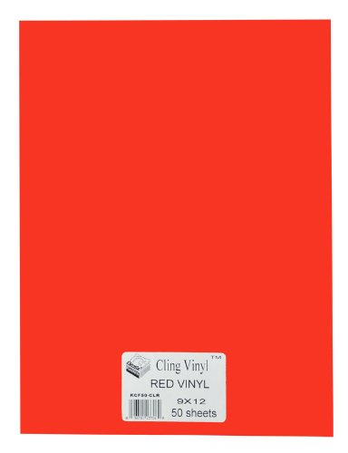 Grafix 9-Inch by 12-Inch Cling Film Red, 50-Pack