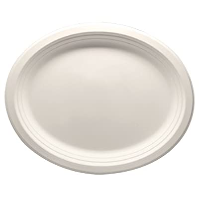 "Durable Eco-Friendly 12.5"" x 10"" Bagasse Plates(Oval) - Pack of White Plates. Microwave Safe, Compostable, Made from Sugercane Fibers"