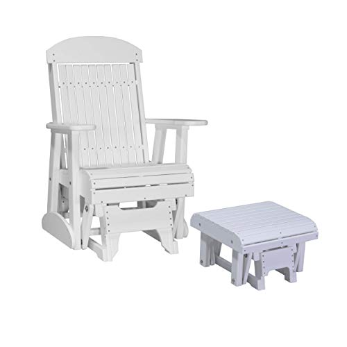 LuxCraft Poly Recycled Plastic 2' Classic Glider Chair with Foot Rest (Earthtone - White)