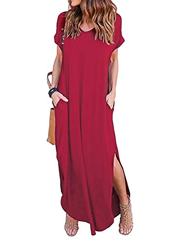 (Womens Casual V Neck Side Split Beach Long Maxi Dress Red XXL)