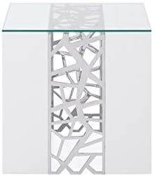 Zuri Furniture Modern Liera End Table in White High Gloss Lacquer with Clear Glass and Stainless Steel