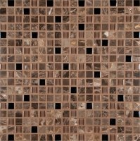 Emperador Cafe 12 in. x 12 in. x 8 mm Glass Stone Mesh-Mounted Mosaic Tile