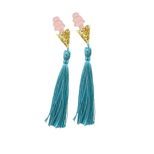 Breakfast at Tiffany's Inspired Tassel Earplugs Aqua with Pink