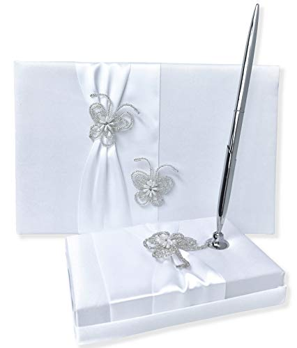 (Wedding Guest Book and Pen Set | Guest Book Wedding Set with Lined Pages for Sign in | Butterfly Beads and White Satin with Classic Touch)
