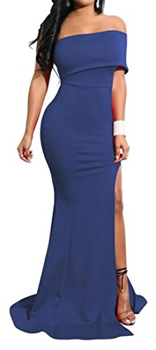 Pivaconis Womens Solid Stretch Off Shoulder Slit Side Fishtail Maxi Dress Royal Blue Small by Pivaconis