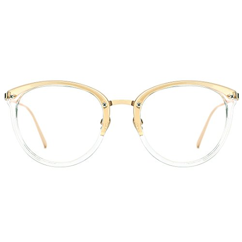 Slocyclub Classic Retro Round Metal Eyewear Frame Optical Eyeglasses Clear Lens Rx-able - Online Glasses Store