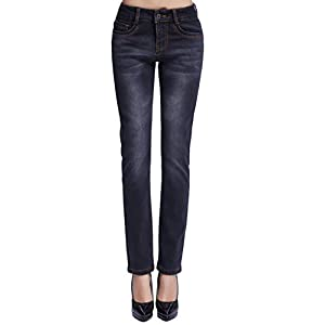 Camii Mia Women's Winter Slim Fit Thermal Fleece Jeans
