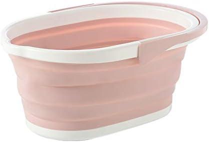 Fssh-mlx ポータブル折り畳み式バケツソリッド盆地観光アウトドアクリーンバケツ釣り推進キャンプ洗車モップ折りたたみバケツアウトドア (色 : Light pink)