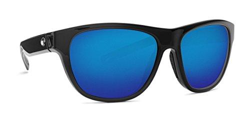 Costa Del Mar 580g BAYSIDE Shiny Black Sunglasses, Blue Mirror - Sun Bayside