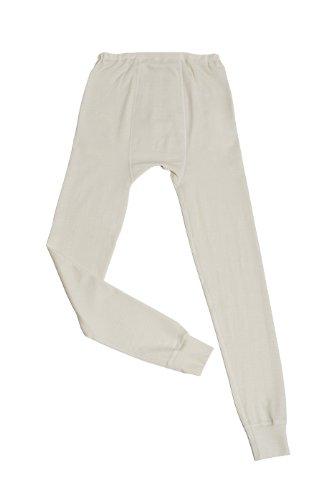 Hocosa of Switzerland Men's Long-Underwear Pants, Organic Wool-Silk, Natural White, size M
