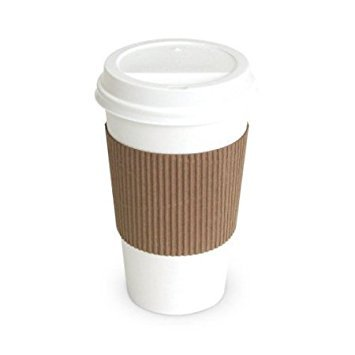 20oz Hot Paper Cups with Lids and Sleeves 50 Pack (white)