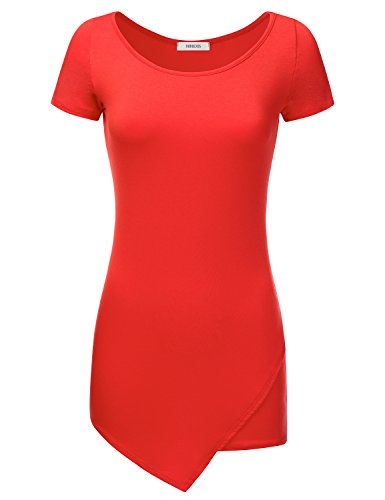 NINEXIS Women's Bodycon Short Sleeve Tunic Top with Asymmetrical Hem CHERRY L