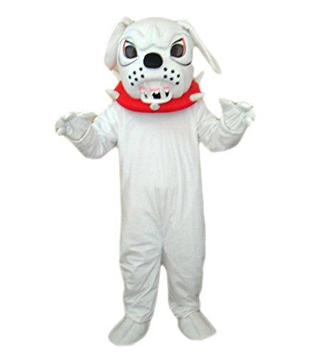 Deluxe Plush Bull Mascot Costumes (MascotShows Angry White Bulldog Mascot Costume for Adult)