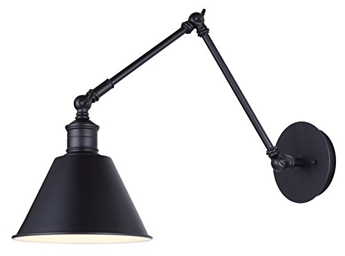 Canarm 1 Light Morocco Wall Fixture with Matte Black Finish and Painted White Interior - Adjustable ()