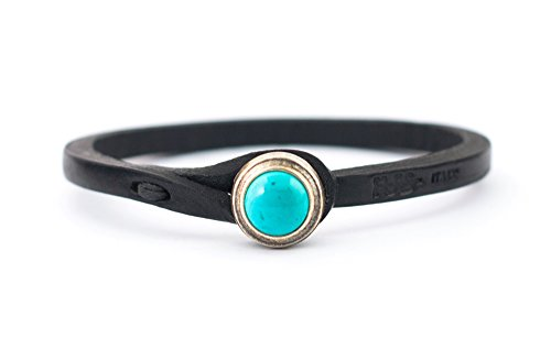 Jewelry Genuine Leather - Tulsi Ginger Wrap Bracelet by Genuine Italian Vegetable-Tanned Leather with Turquoise Stone Closure | Handmade in Italy