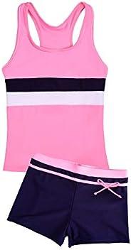 Uhnice Girls Swimsuit Two Piece Tankini Swimwear with Boyshort