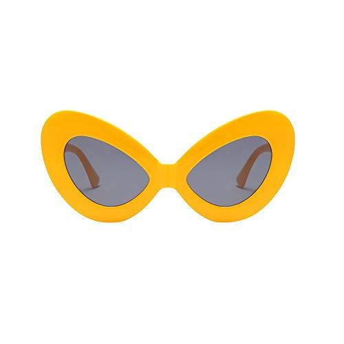 LODDD Women Vintage Big Oval Shape Frame Sunglasses Fashion Bat Eyes Eyewear ()