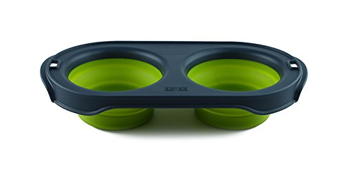 Dexas Popware for Pets Double Bowl Collapsible Travel Feeder, 2.5 Cup Capacity, Green