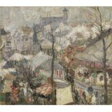 Oil Painting 'Gustave De Smet - Fair On Vrijdagmarkt In Ghent,1907' Printing On High Quality Polyster Canvas , 12x14 Inch / 30x34 Cm ,the Best Bar Decoration And Home Decor And Gifts Is This Reproductions Art Decorative Canvas Prints