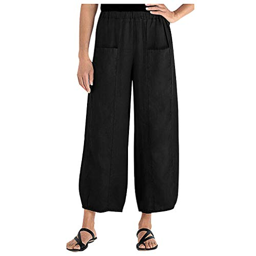 Women's Wide Leg Capri Pants Cotton Cropped Palazzo Trousers Culottes
