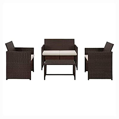 HomyDelight Outdoor Furniture Set, 4 Piece Garden Lounge with Cushions Set Poly Rattan Brown