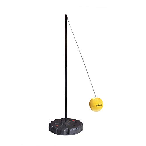 Hathaway Tetherball Set with Fillable Base & Durable Ball - Weather-Resistant Backyard Game for Kids & Adults - Black/Yellow